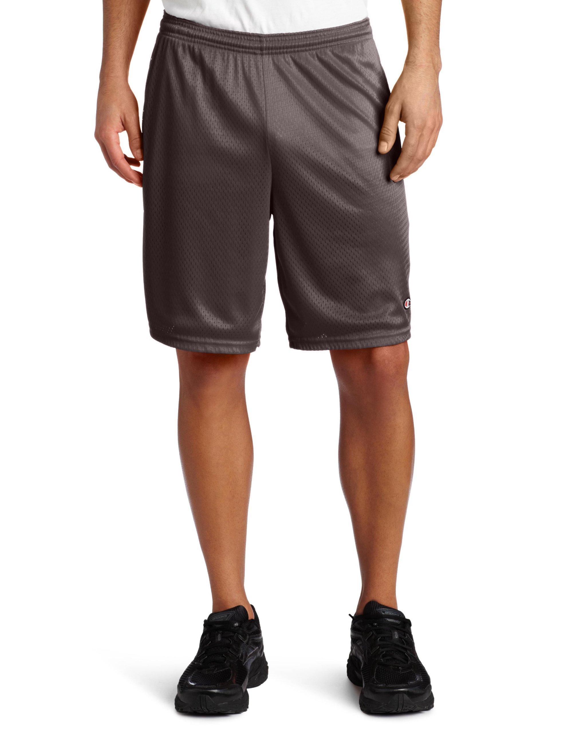 Champion Men's Long Mesh Short With Pockets,Granite Heather,Small