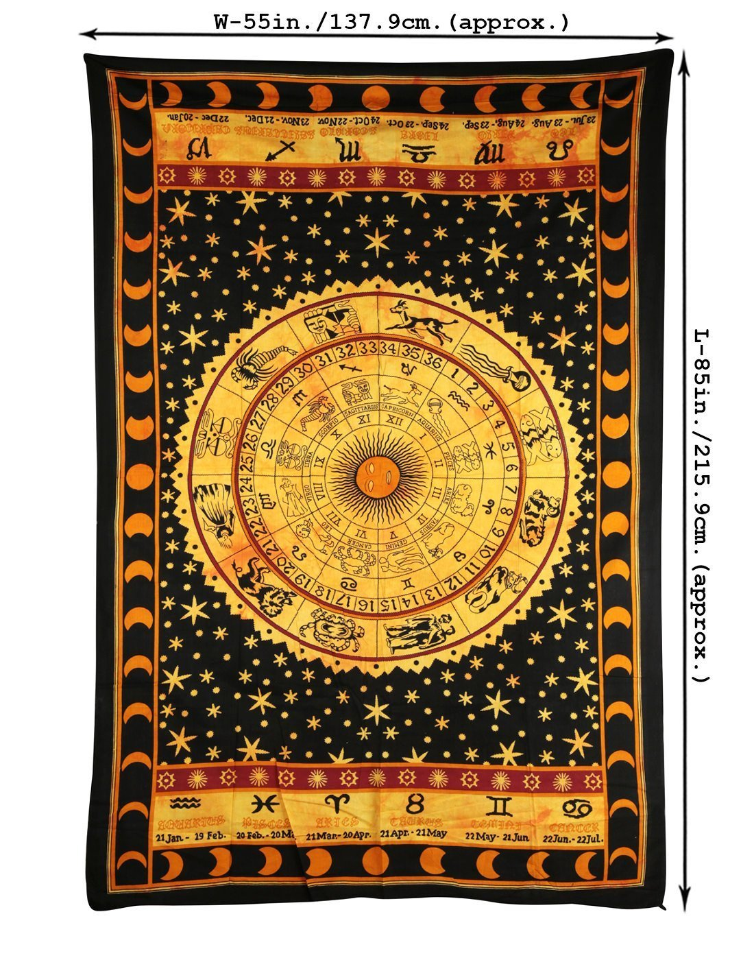 Amazon.com: Handicrunch Black Zodiac Horoscope Tapestry, Indian ...