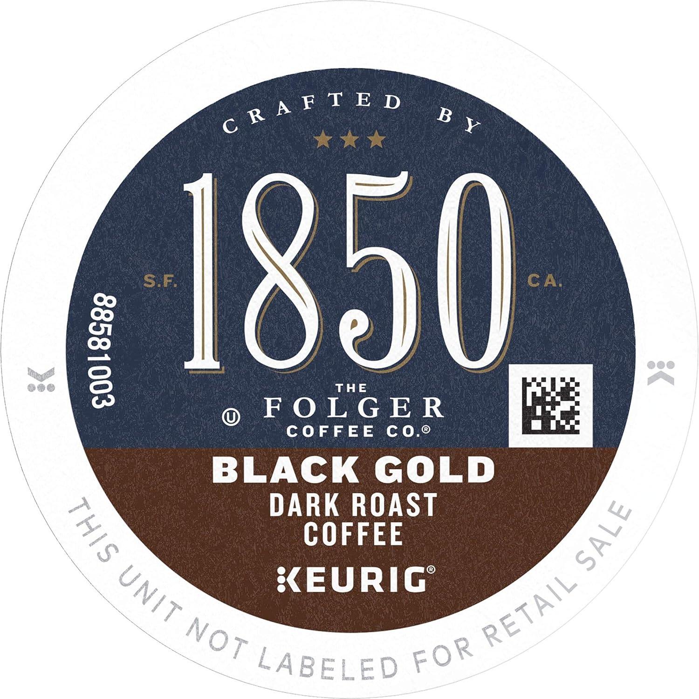 1850 by Folgers Coffee Black Gold Dark Roast Coffee, 10 K Cups for Keurig Coffee Makers