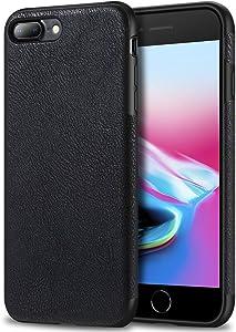 Bisikor iPhone 7 Plus Case/iPhone 8 Plus Case Leather Texture Design Slim Case for iPhone 7 Plus and iPhone 8 Plus (Black)