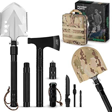 Amazon Com Pathway North Survival Shove And Camping Axe Stainless Steel Multi Tool And Survival Hatchet Equipment For Outdoor Hiking Hunting Emergency Backpacking Garden Outdoor