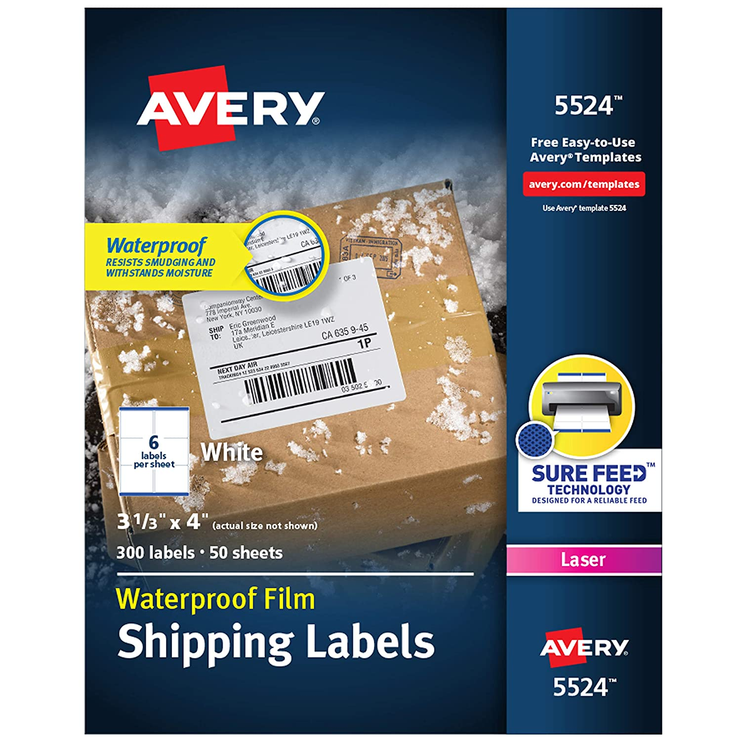 """B00006IBUX Avery Waterproof Shipping Labels with Sure Feed & TrueBlock, 3-1/3"""" x 4"""", 300 White Labels (5524) 81Z62eceUjL"""