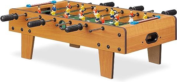 Relaxdays Futbolín de Mesa Portátil, Madera MDF, Marrón, 23 x 69 x 60 cm: Amazon.es: Juguetes y juegos