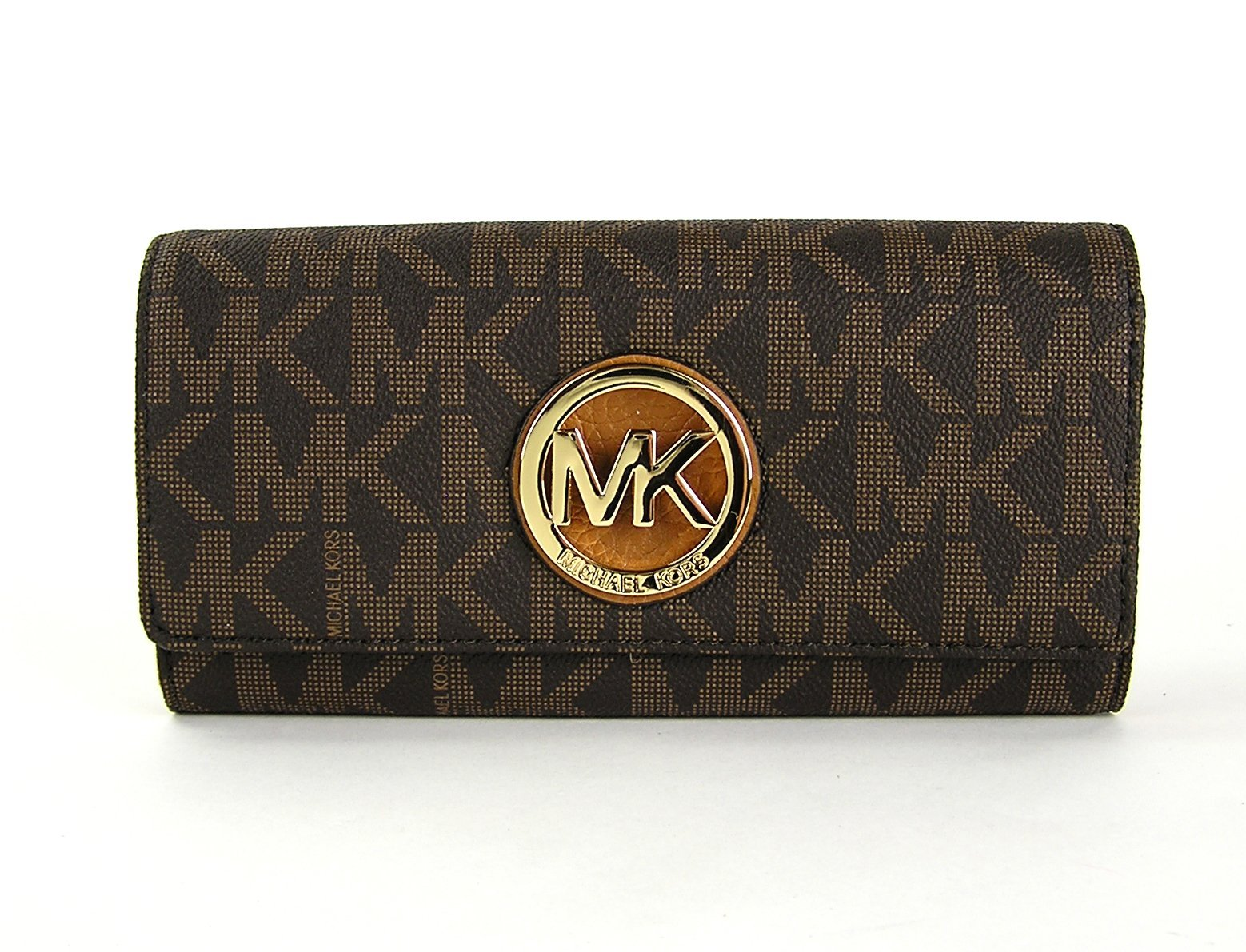 Michael Kors Womens Fulton Signature Long Continental Clutch Wallet Brown/Acorn