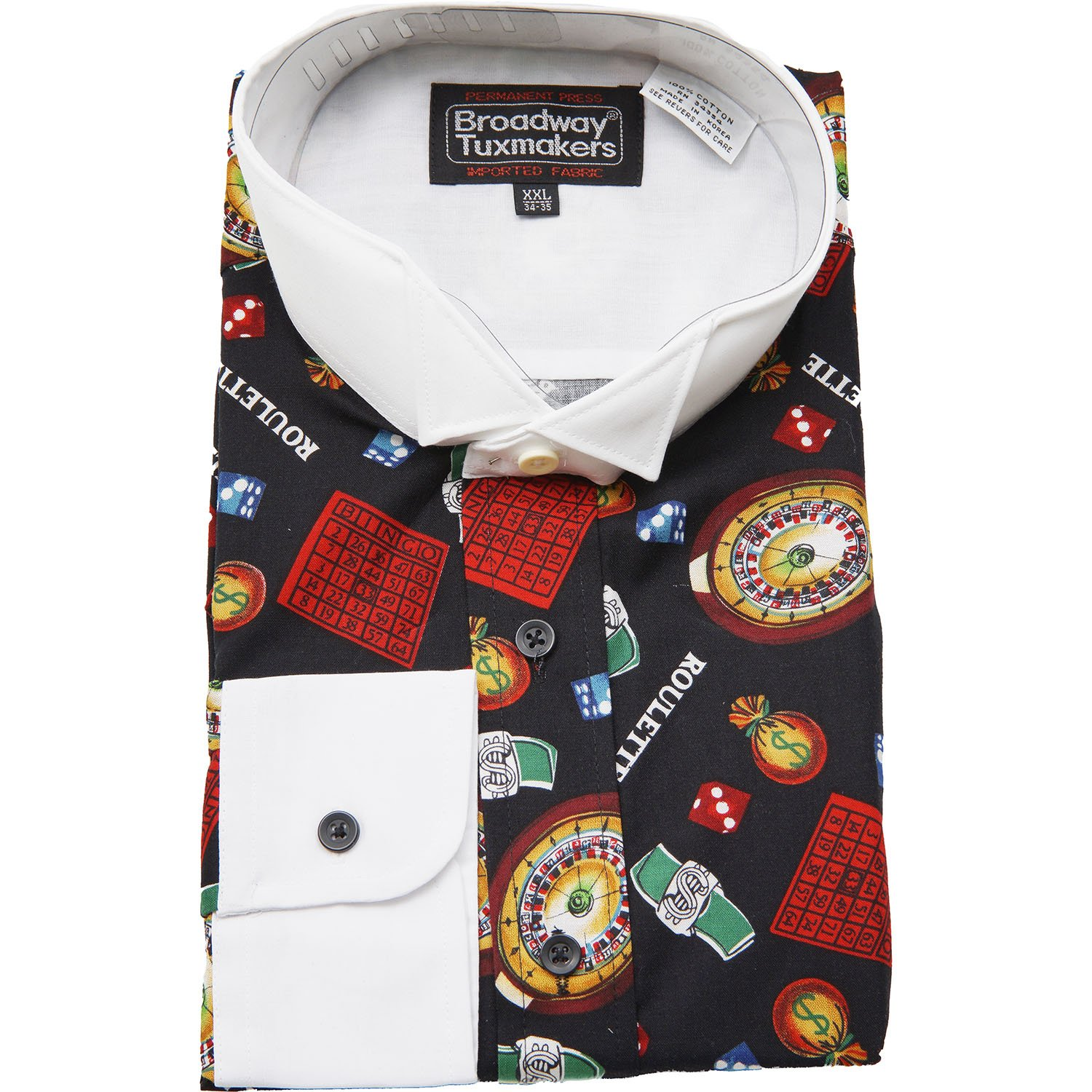 Mens Wing Tip Collar Casino Roulette Print Tuxedo Shirt, Patterned, 16'' Neck, 34-35'' Sleeve (LG) by New Era Factory Outlet