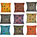 GREENTOUCH CRAFTS Cotton Handmade Decorative Patchwork Block Pattern Cushion Covers, 16x16-inch(Multicolour) - Set of 5
