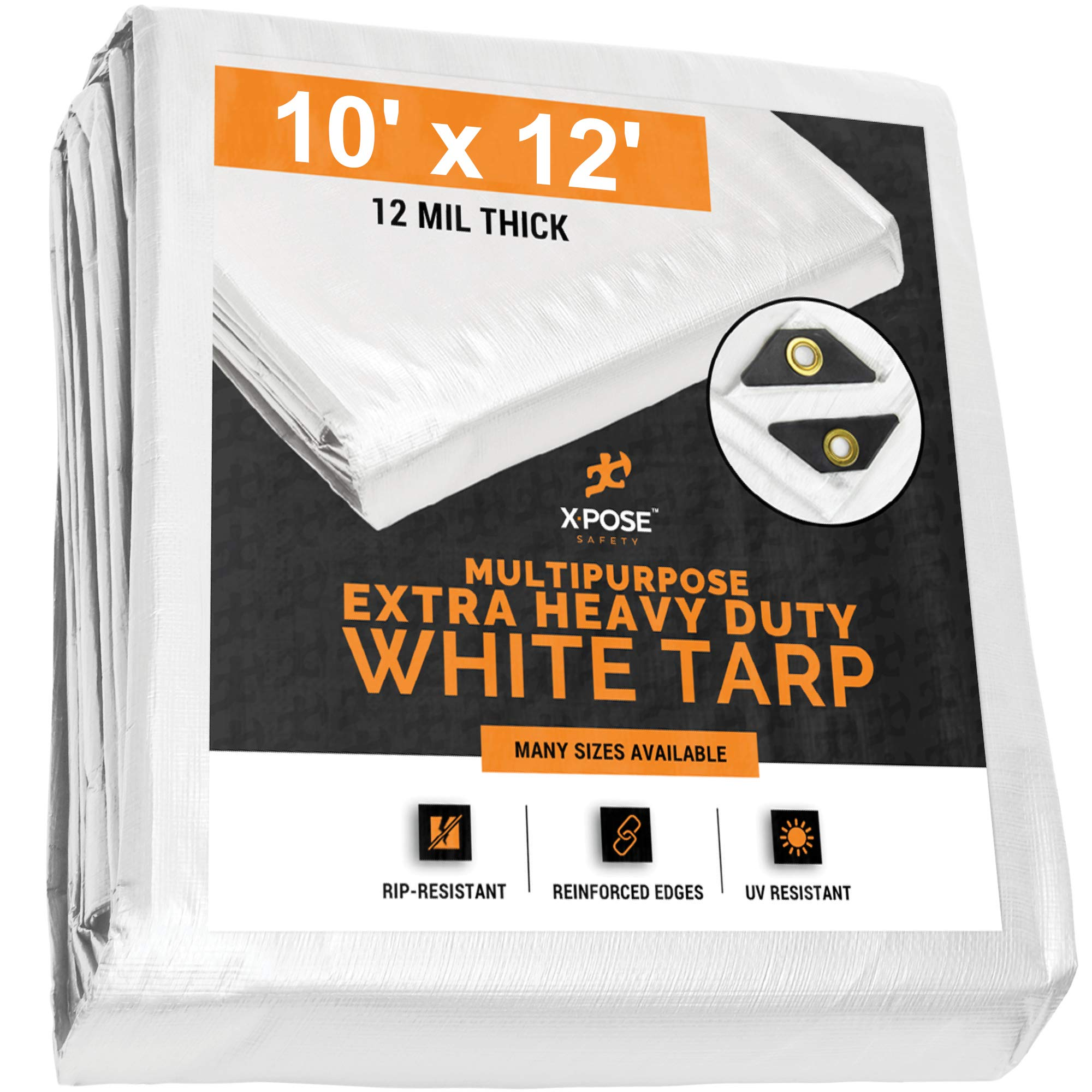 Heavy Duty White Poly Tarp 10' x 12' Multipurpose Protective Cover - Durable, Waterproof, Weather Proof, Rip and Tear Resistant - Extra Thick 12 Mil Polyethylene - by Xpose Safety by Xpose Safety