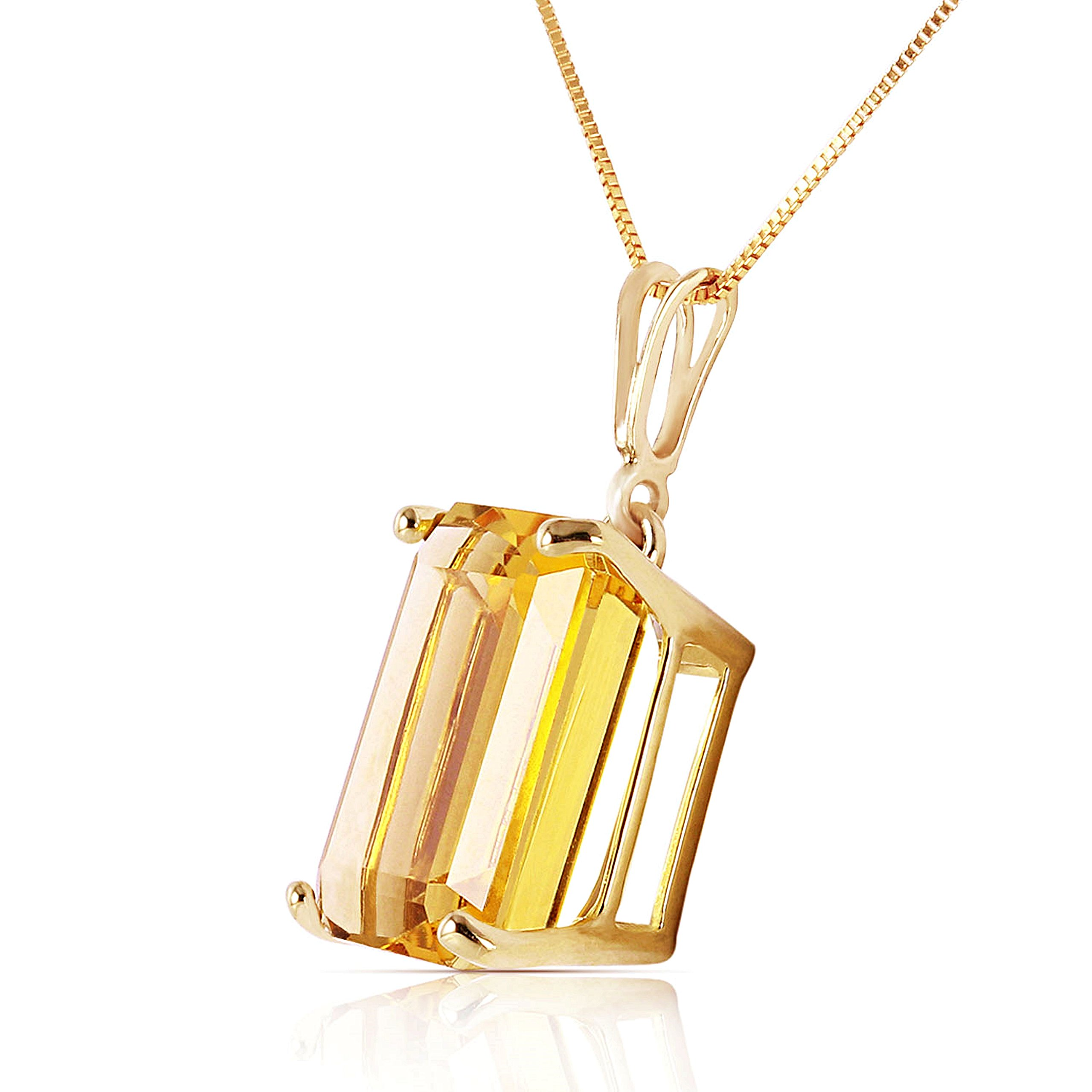 14k Solid White, Rose, and Yellow Gold Necklace with 6.5 Carats Octagon-Cut Natural Citrine (yellow-gold, 16) by Galaxy Gold (Image #2)