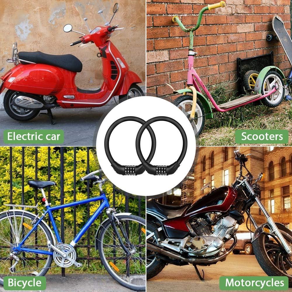 Bicicletas Triciclo Scooter 40cm Trabajo Pesado Antirrobo Bloqueo Bici Alta Seguridad Candado de Cable Combinaci/ón 4 D/ígitos con Cadena de Material Ecol/ógico de PVC Achort 2 Candado de Bicicleta