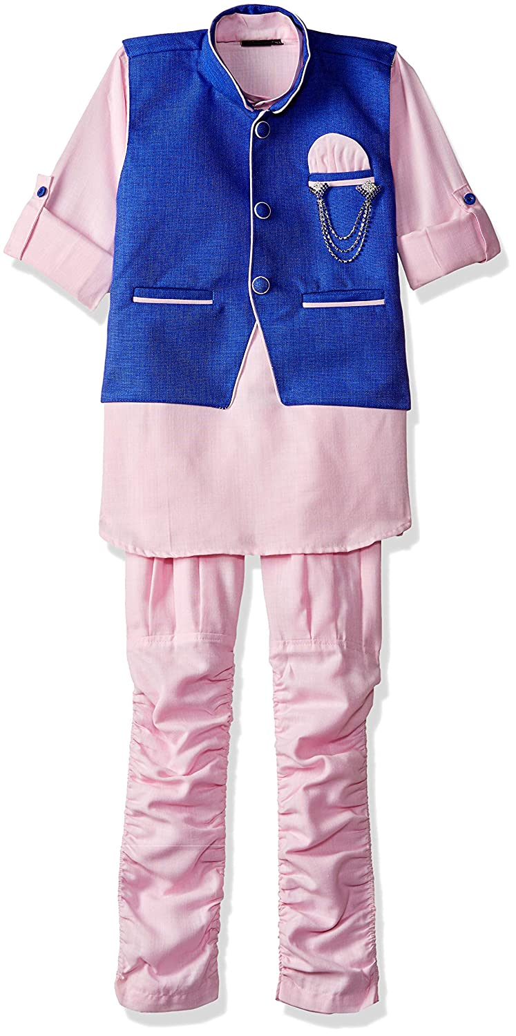 AJ Dezines Kids Indian Ethnic Kurta Pyjama Waistcoat Set for Boys 633-$P