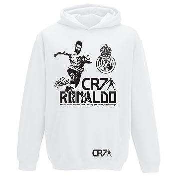 Sudadera con capucha para niños y adultos, diseño de Ronaldo, Real Madrid., JH001/JH01J, blanco, Kids 7/8yrs 30