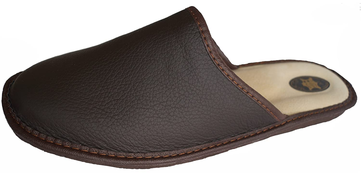 'Marited' Mens / Womens Natural REAL Leather BROWN slippers mule all sizes
