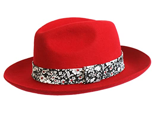 Image Unavailable. Image not available for. Colour  Ladies Red Wool Felt Trilby  Fedora Hat FB4 10d34f82327c