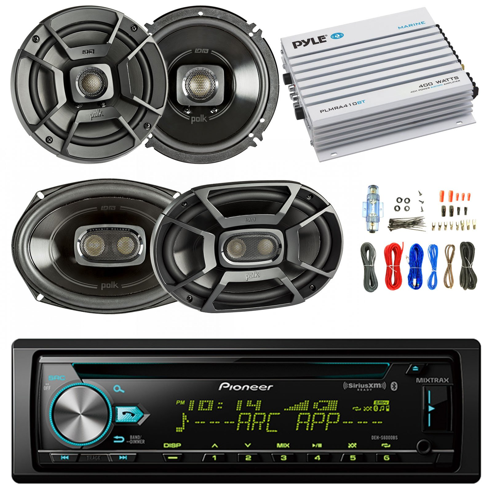 Pioneer DEH-S6000BS Car Bluetooth Radio USB AUX CD Player Receiver - Bundle Combo With 2x Alpine 6.5'' 80W 2-Way Coaxial Car Speakers + 2x 6x9 Inch 280W Black Speaker + 4-Channel Amplifier + Amp Kit