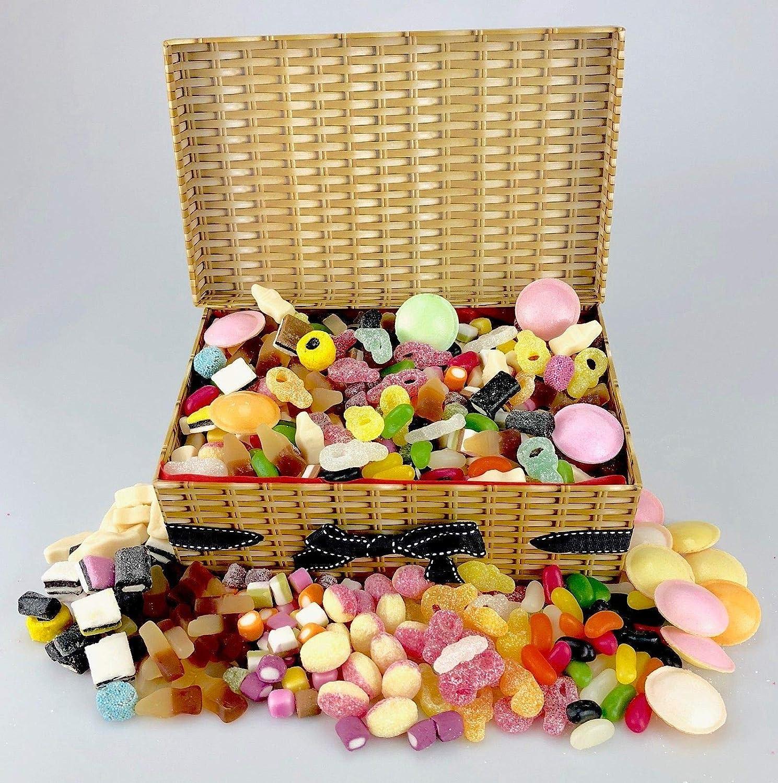 Cesta retro para dulces y mezclas – Old Time Sweets – Platillos voladores, mezcla de dolly, botellas de cola, licorice Allsorts, Fizzy Mix, ruibarbo y natildas y frijoles de gelatina: Amazon.es: Alimentación