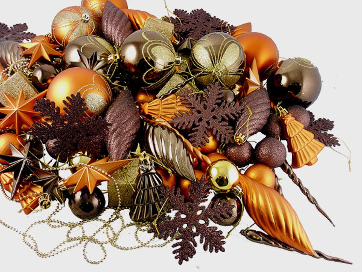 Brown Copper Gold 125-Piece Christmas Ornaments
