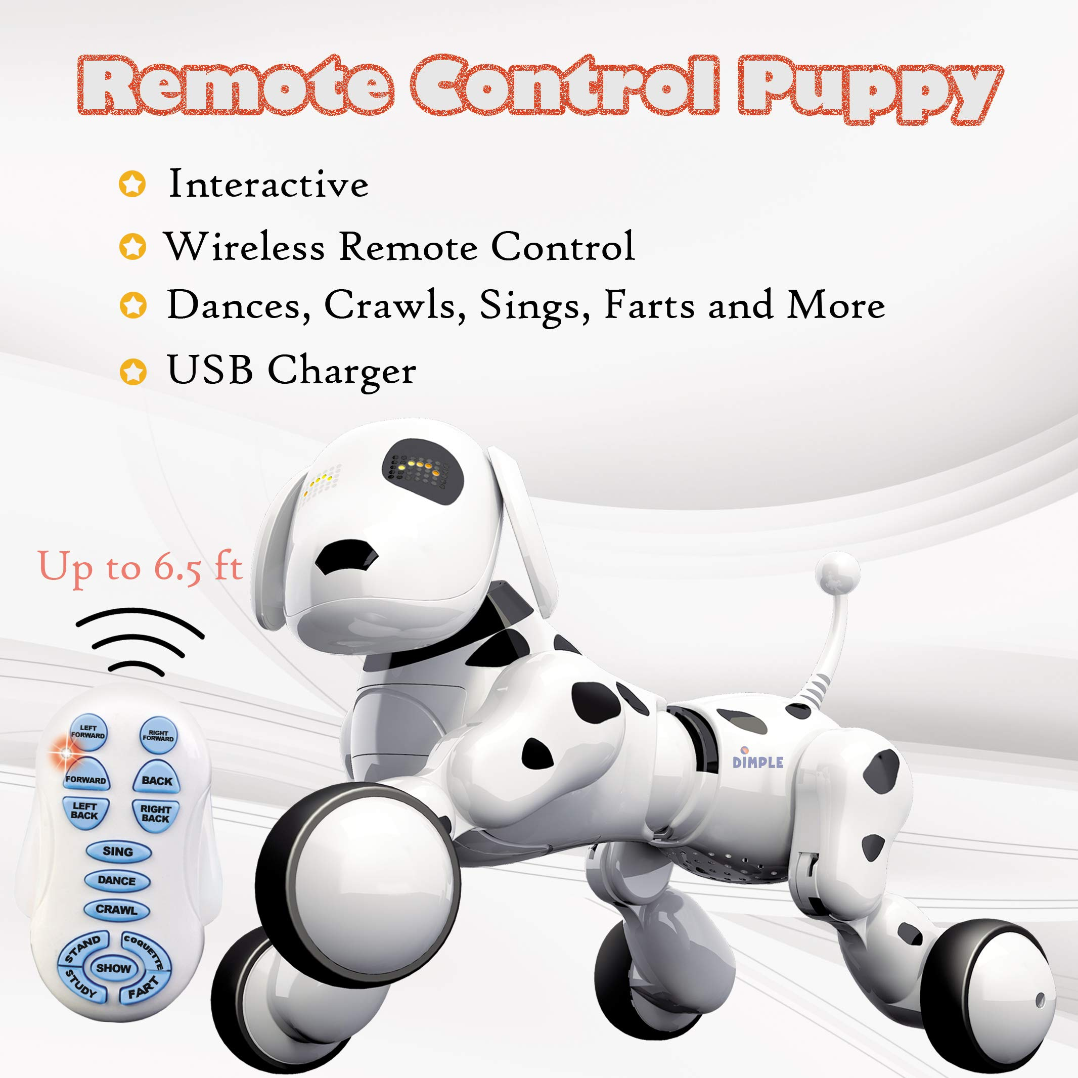 Dimple Interactive Robot Puppy With Wireless Remote Control RC Animal Dog Toy That Sings, Dances, Eye Mode, Speaks for Boys/Girls, Perfect Gift for Kids. by Dimple (Image #7)