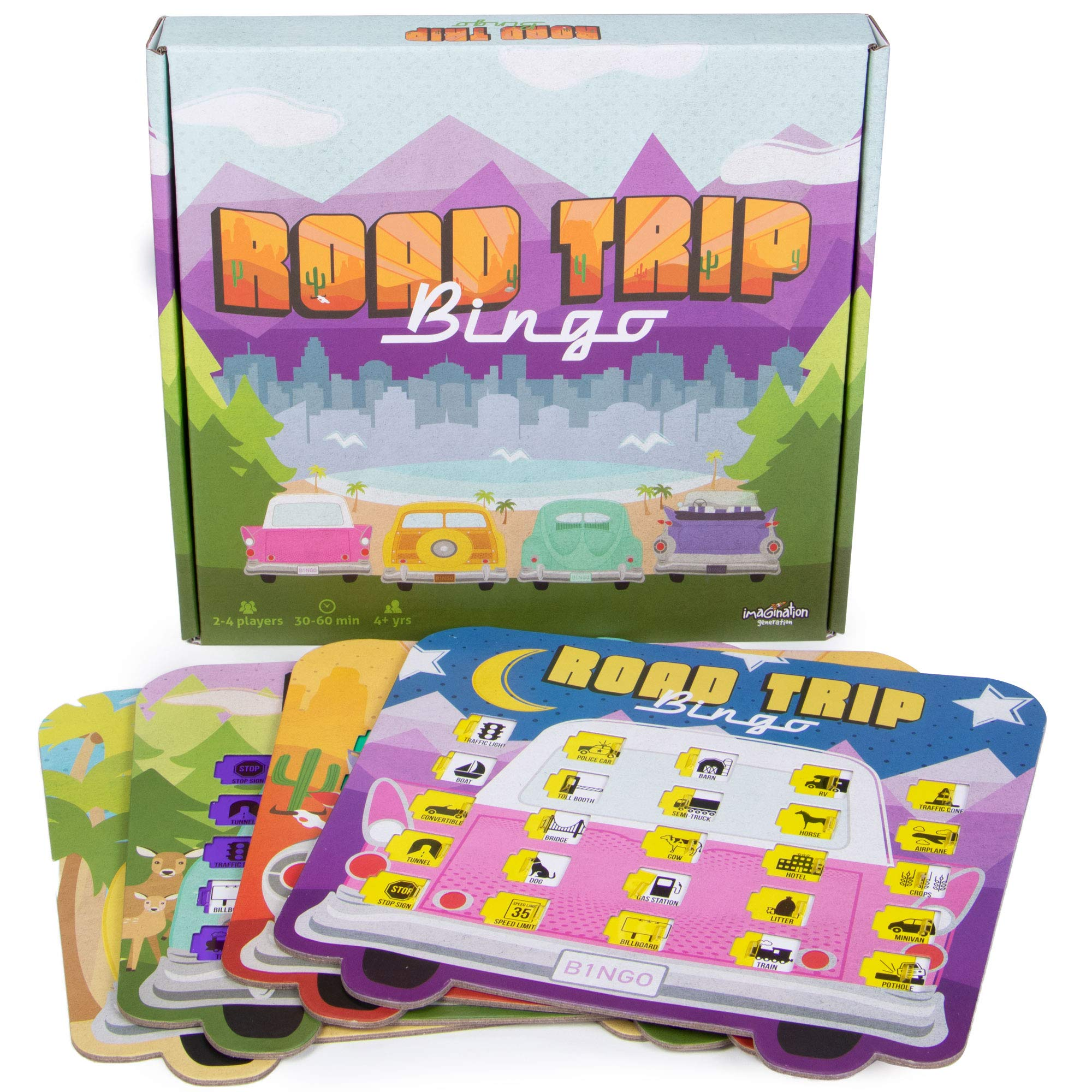 Road Trip Bingo - Road Trip Travelling Bingo Game for Families and Kids on Road Trips and Vacations - 4 Compact Bingo Boards for Easy Travel by Imagination Generation