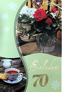 Einladungskarten 70. Geburtstag Frau Mann Ohne Innentext Motiv Rose Tee 10  Klappkarten Im Hochformat Mit