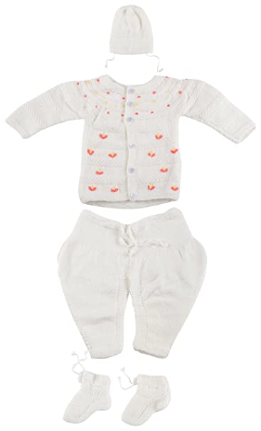 2c631562f Kuchipoo Babies Hand Knitted Woolen Sweater Set (White