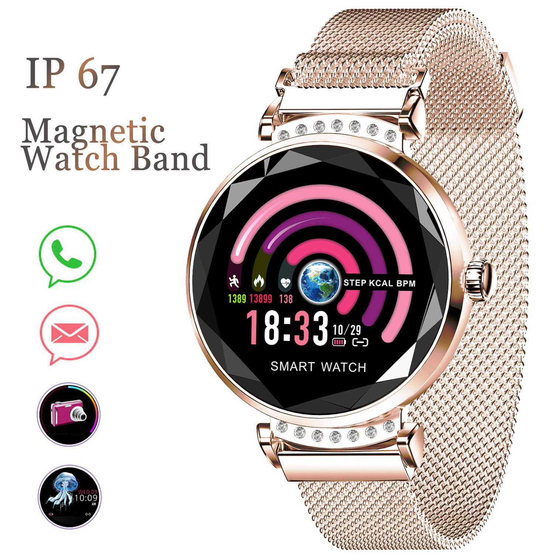 Synmila Female Smart Watch, Fitness Tracker Smartwatch for Women, Womens HR Blood Pressure Sleep Monitor Period Reminder Waterproof Smart Bracelet ...