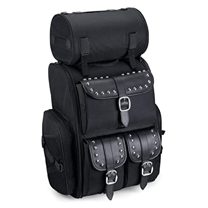 ae81a8a3ef4 Amazon.com: Viking Bags Extra Large Universal Fit Motorcycle Sissy Bar Bag  (Black, Studded): Automotive
