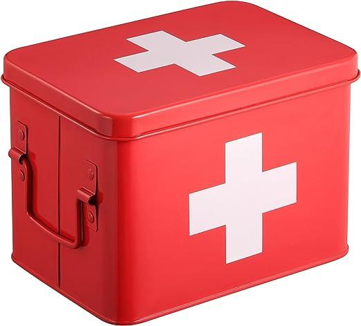 Caja Botiquín | Kit De Primeros Auxilios Metálico Rojo | 4 Compartimentos De Almacenamiento De Doble Capa | 21.5 x 15 x 16 cm | HARIMA: Amazon.es: Juguetes y juegos