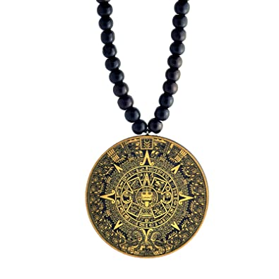 Amazon mayan calendar wooden pendant with wood bead chain mayan calendar wooden pendant with wood bead chain swaggwood made in usa aloadofball Images