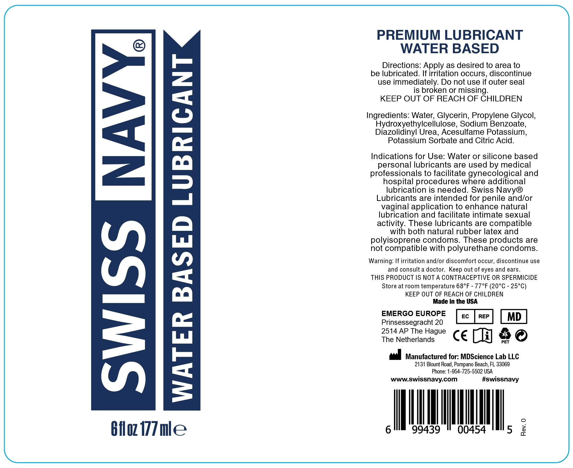 Swiss Navy Premium Water Based Lubricant, 32 oz, MD Science Lab by SWISS NAVY