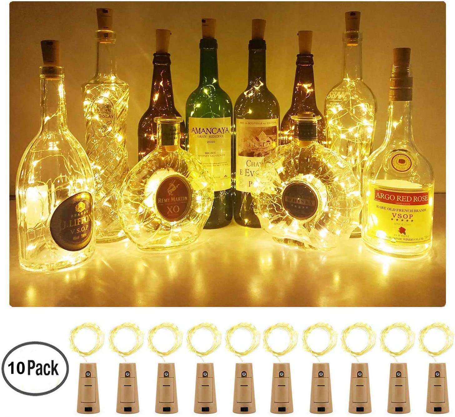 Aluan Wine Bottle Lights 10 Pack Cork Bottle Lights With Screwdriver Battery Operated Wine Cork Lights String Lights For Party Wedding Christmas Halloween Bar Jar Lamp Decor, Warm White