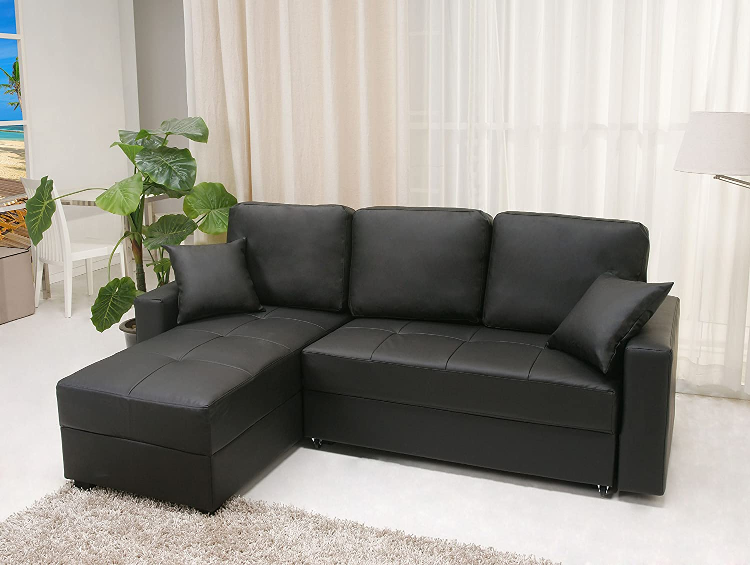 Amazon.com Gold Sparrow Aspen Convertible Sectional Storage Sofa Bed Black Home u0026 Kitchen : sectional couch bed - Sectionals, Sofas & Couches