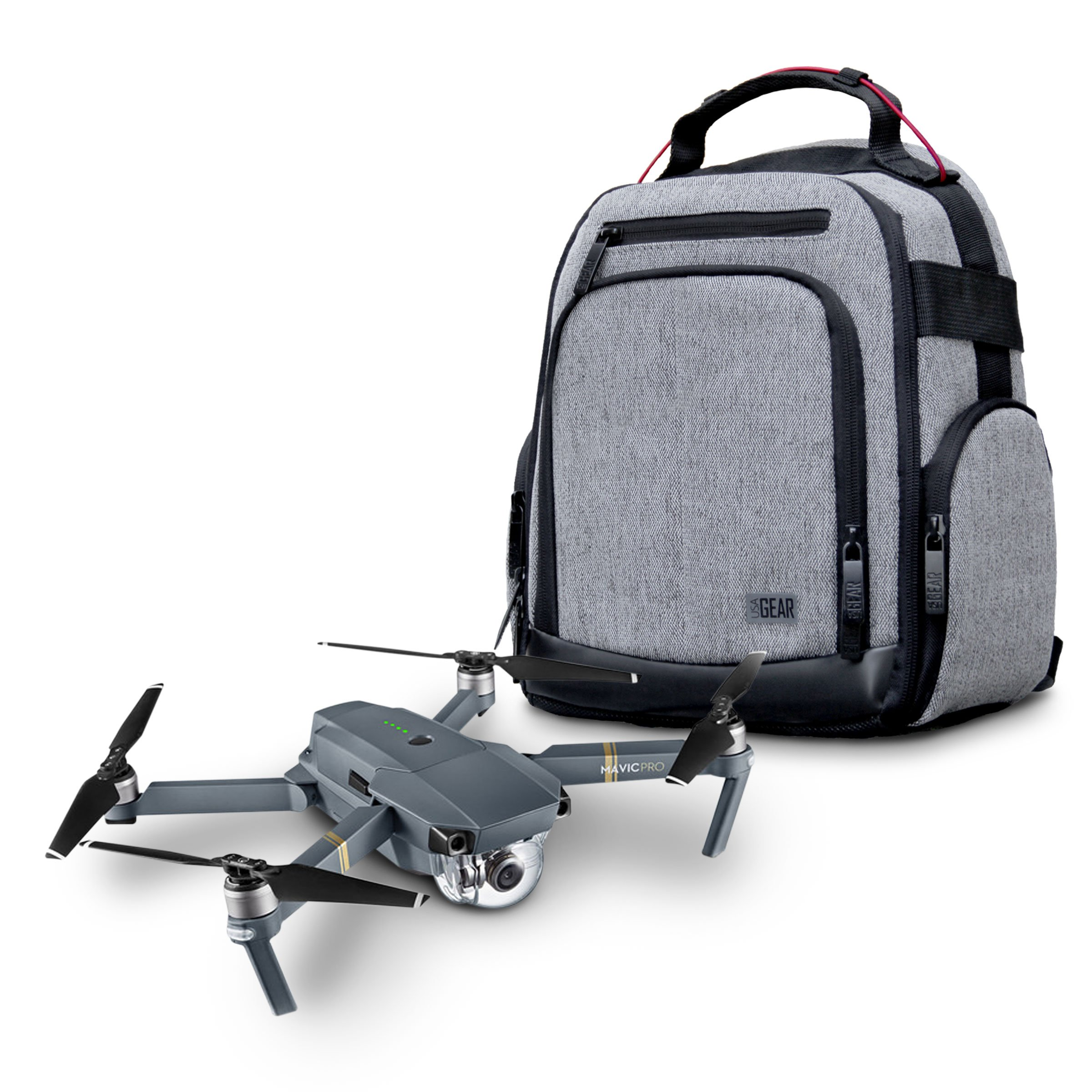 USA Gear Drone Backpack Travel Bag for DJI Mavic Pro, Spark Mini, Mavic Air, Yuneec Breeze & More - Customizable Interior Dividers, Weather Resistant, Storage for Batteries, Spare Blades & More