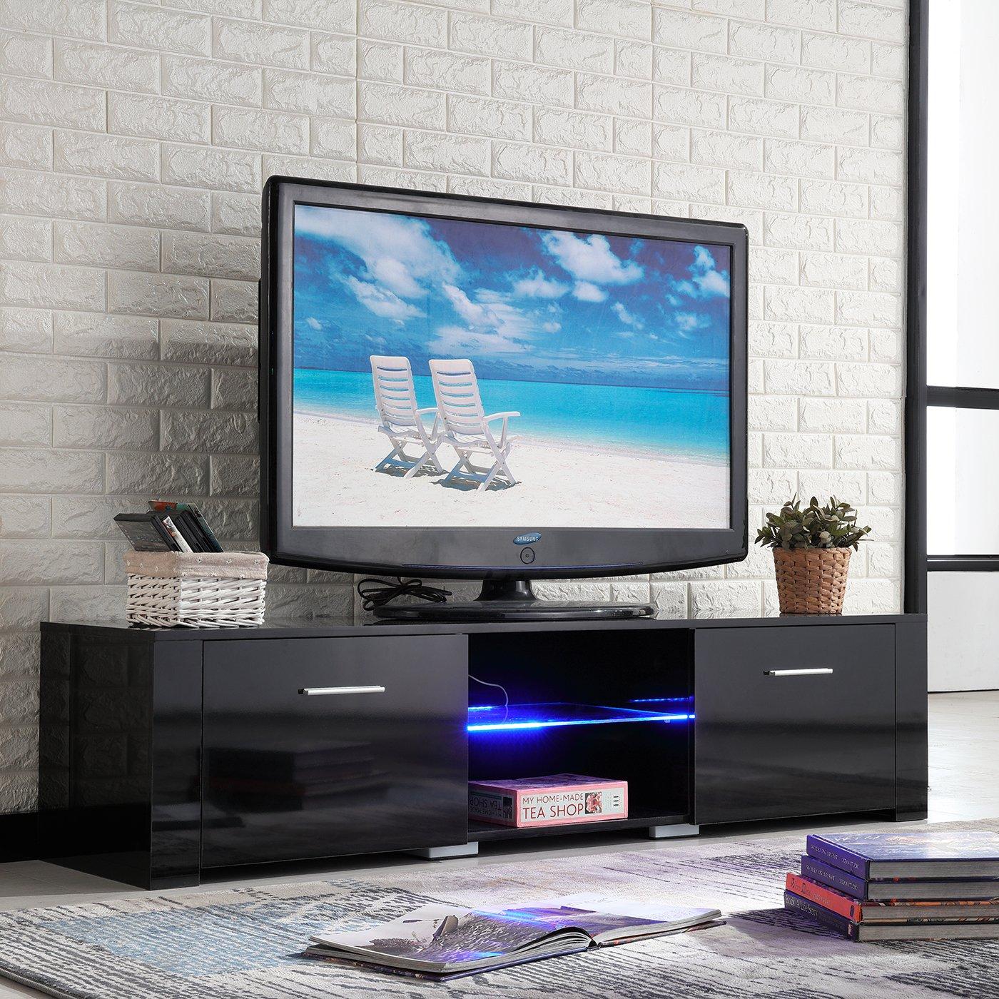 Amazon.com: NewRetailGlobal High Gloss TV Stand Console Black Unit ...