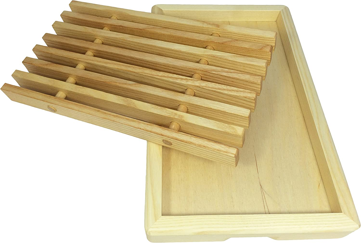 Eppicotispai 38 by 24 by 5cm Ashwood Bread Cutting Board and Tray 15 by 9.4 by 2-Inch