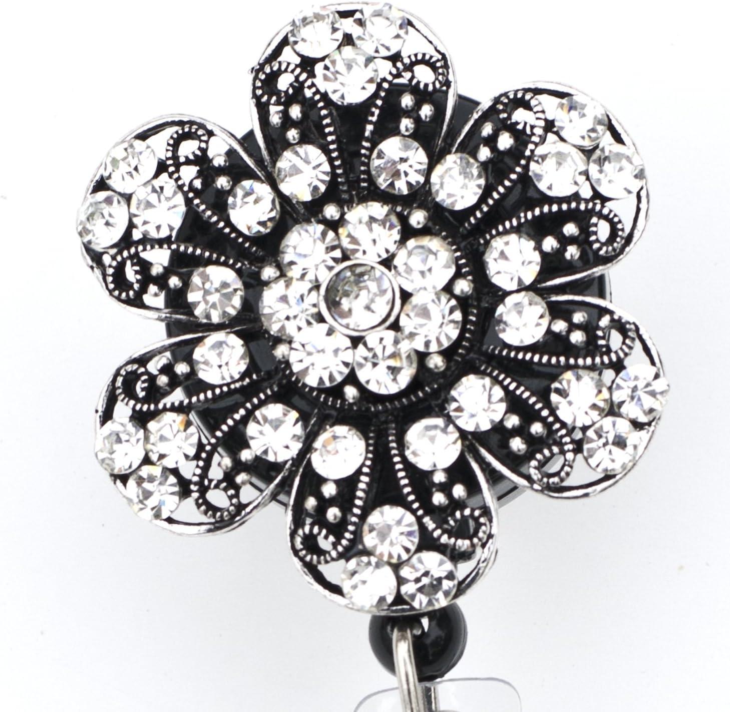 Alligator or Slide Clip AB Rhinestone Flower SPARKLE Retractable Reel ID Badge Holder You pick Reel Style