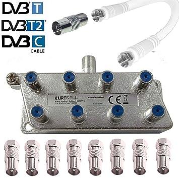 TronicXL 4251504198847 8 Compartimento IEC distribuidor distribuidor de antena TV Cable adaptador Cable Televisión ZB para