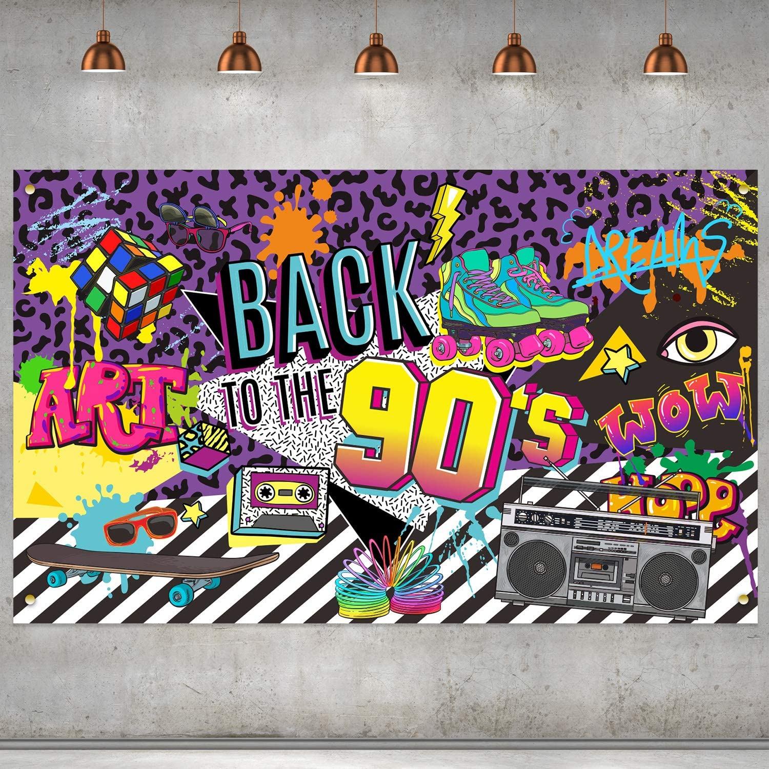 Amazon Com 90s Theme Backdrop Hip Hop Graffiti Back To 90 S Party Banner Background 72 8x43 3 Inch Fabric Wall Table Decorations Photo Booth Props Kitchen Dining