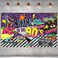 90s Theme Backdrop Hip Hop Graffiti Back to 90's Party Banner Background 72.8x43.3 Inch Fabric Wall Table Decorations Photo Booth Props