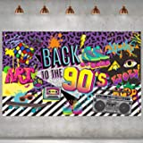 90s Theme Backdrop Hip Hop Graffiti Back to 90's Party Banner Background 71x43.3 Inch Fabric Wall Table Decorations Photo Boo