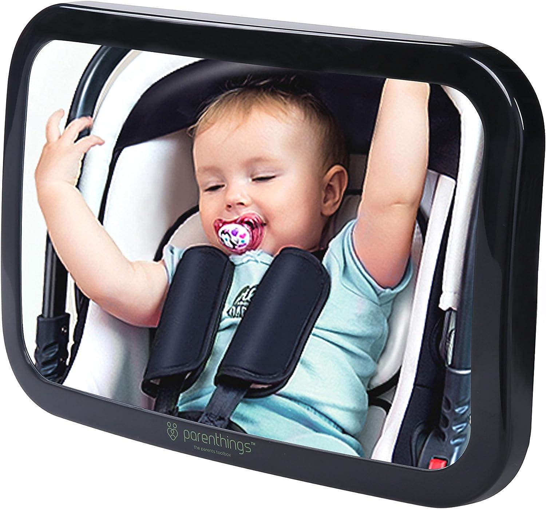 Parenthings Espejo del Bebé para Coche Vista Trasera-visión amplia clara con ajustable pivote rotatorio de 360°-100% irrompible y establo-universal cabido extra grande clásico negro