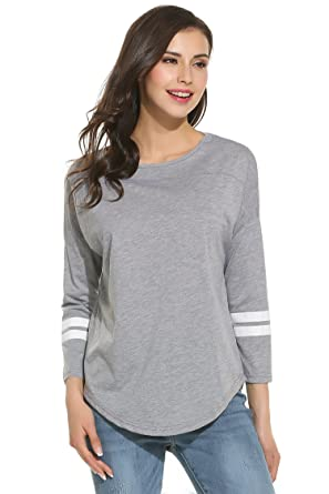 308311b404d Zeagoo Women s Cotton Crew Neck 3 4 Sleeve Raglan Baseball Tee Shirt  Tops
