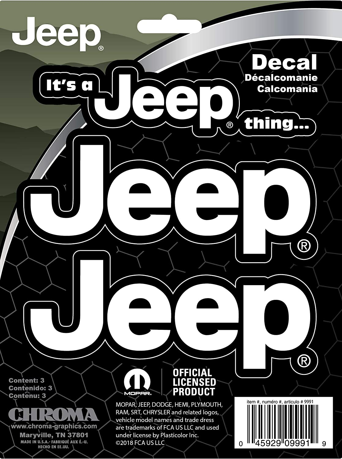 CHROMA 009991 Jeep It's a Jeep Thing Stick Onz Decal
