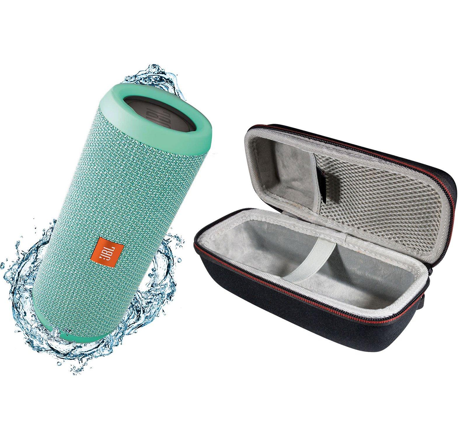 JBL Flip 3 Portable Splashproof Bluetooth Wireless Speaker Bundle with Hardshell Case - Teal