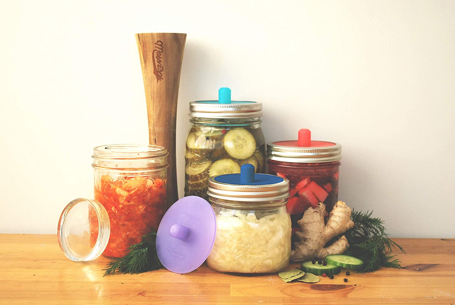 Wide Mouth Glass Weights Vegetable Pounder and Silicone Airlocks Masontops Complete Mason Jar Fermentation Kit