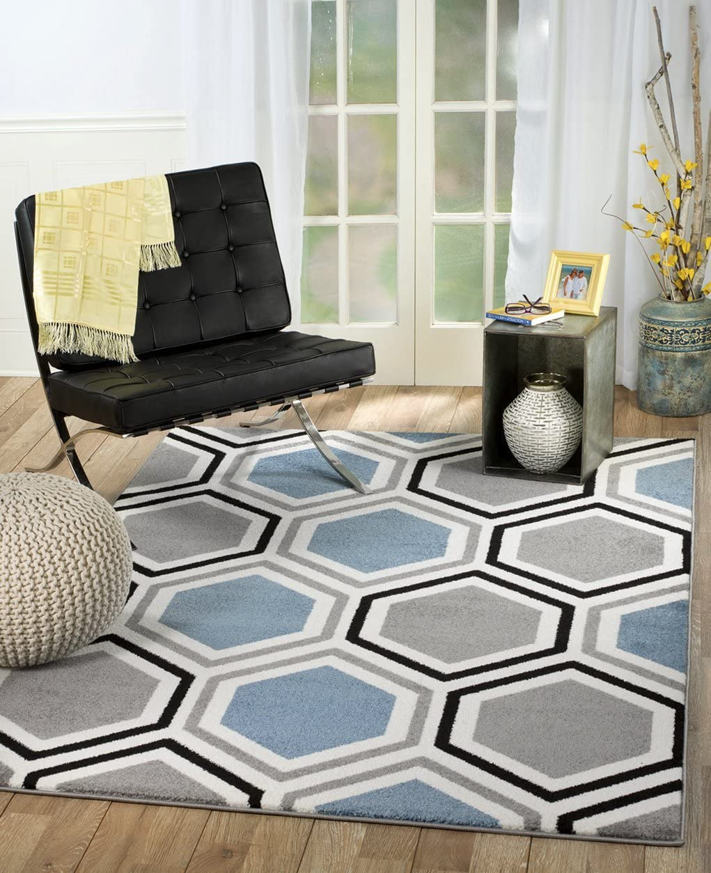 Rio Summit 313 Grey Blue White Area Rug Modern Geometric Many Sizes Available 3 .6 x 5 , 3 .6 x 5