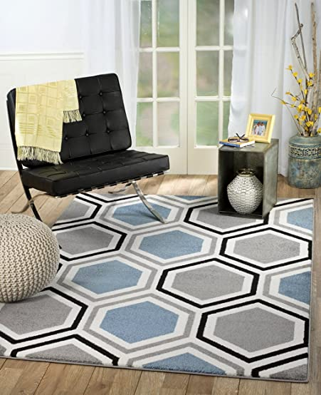 Rio Summit 313 Grey Blue White Area Rug Modern Geometric Many Sizes Available 5' x 7'.2″