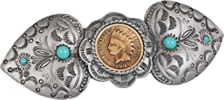 product image for Indian Head Penny Coin Pewter Western Hair Barrette | Genuine United States One Cent Coin | Hair Accessory | Certificate of Authenticity