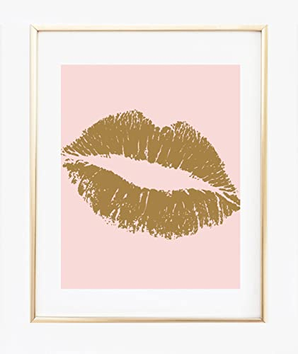 UNFRAMED Blush Pink And Gold Wall Art 8x10, Print, Gold Lips, Kiss Lips