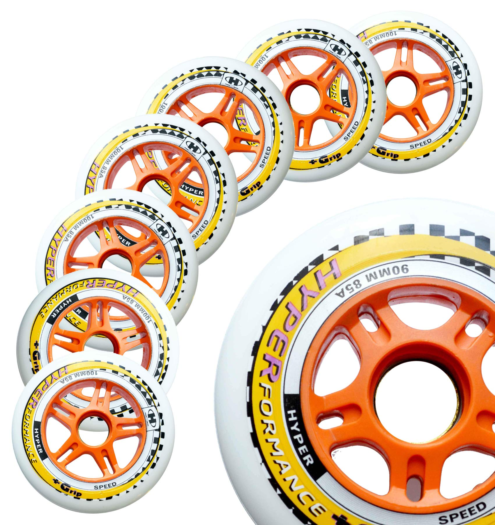 Inline Race Skate Wheels Hyper HYPERFORMANCE+G - 8 Wheels - 85A - Sizes: 84MM, 90MM, 100MM, 110MM - Speed Skating, Fitness and Outdoor Recreational Wheels (90MM)
