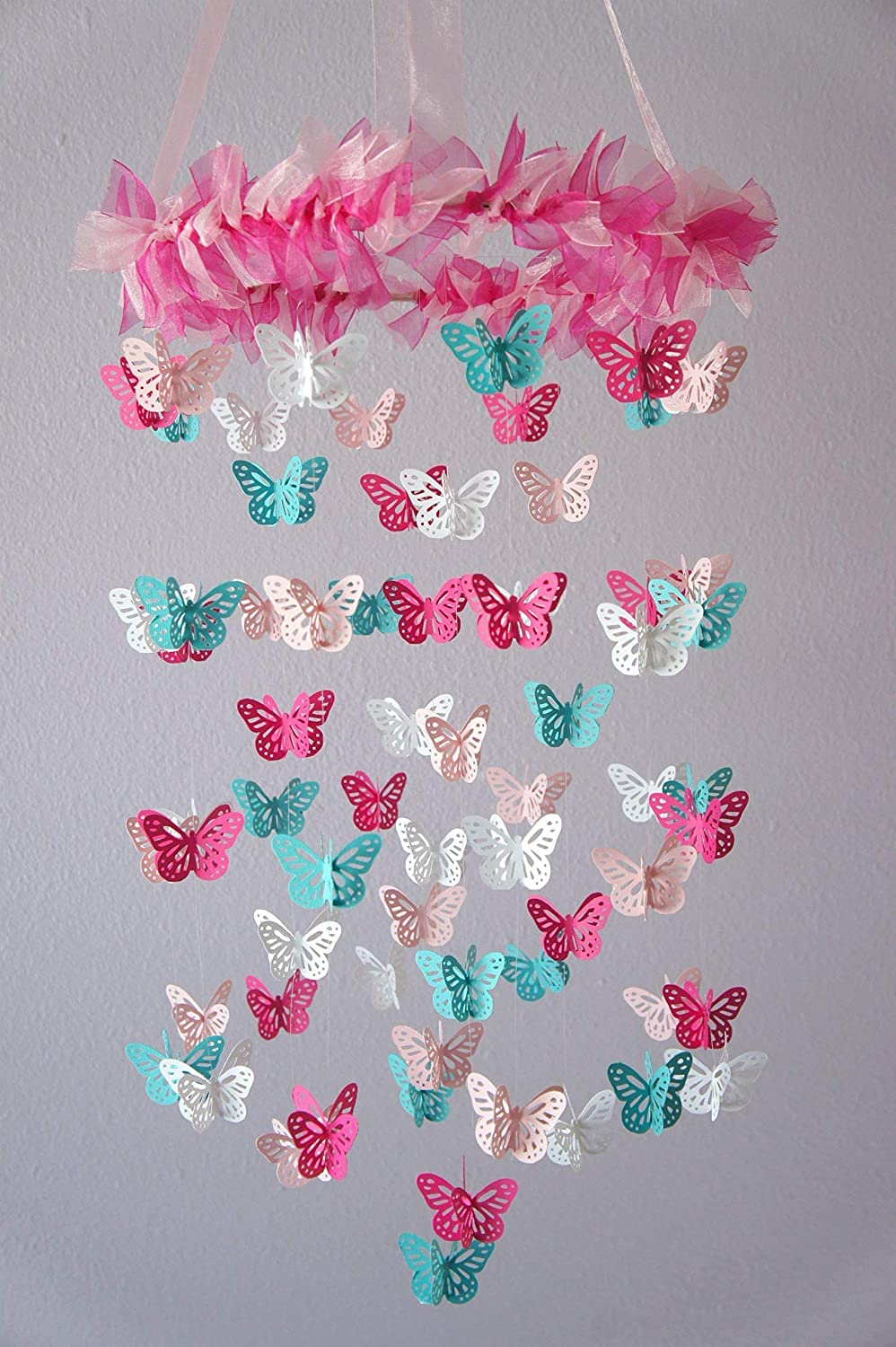 Butterfly Nursery Mobile in Hot Pink, Light Pink, Aqua & White
